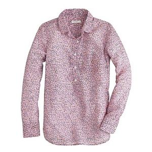 J. CREW | DITZY FLORAL POPOVER PINK SILK BLOUSE